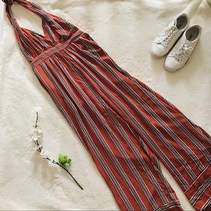 Fashion Nova Orange Halter Striped Jumpsuit